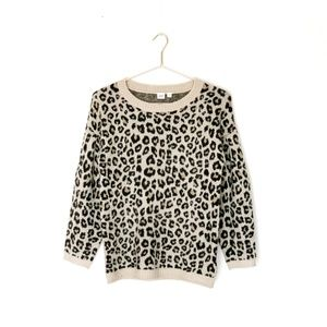 GAP leopard print crop sweater with puff sleeves